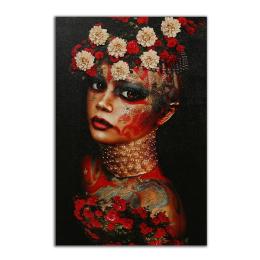 Vitale Kırmızı Çiçekli Kadın Tablo 80x120 cm