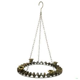 Vitale Eskitme Metal Oval Dörtlü Mumluk 38x5 cm AK.DM0002