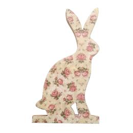 Vitale Şiva Çiçek Desenli Dekoratif Tavşan Büyük Boy Krem AK.FQ0006-K