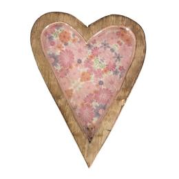 Vitale Şiva Çiçek Desenli Pembe Dekoratif Kalp Orta Boy AK.FQ0013-P