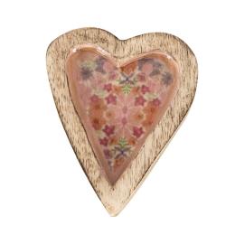Vitale Şiva Çiçek Desenli Pembe Dekoratif Kalp Küçük Boy AK.FQ0014-P
