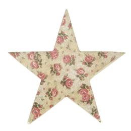 Vitale Şiva Çiçek Desenli Dekoratif Yıldız Krem Küçük Boy AK.FQ0018