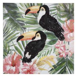 Vitale Pera Vintage Papağanlar Dekoratif Tablo 100x100 cm AK.FW0019