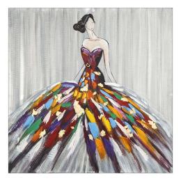Vitale Doru Renkli Elbiseli Kadın Tablo 100x100 cm AK.FX0006