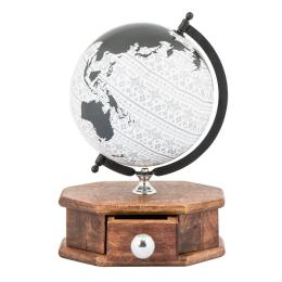 Vitale Ahşap Çekmeceli Dekoratif Dünya Küre 25x37 cm AK.HW0025