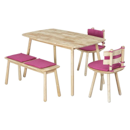 Vitale Seven-D 80x138 cm Yemek Masası Seti Fuşya MS.SET18